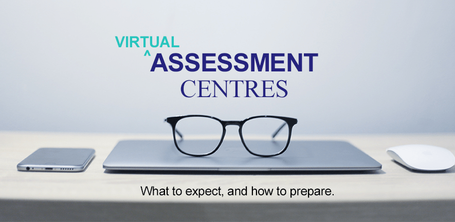 Virtual assessment centres - what to expect and how to prepare - image of laptop, glasses and mouse